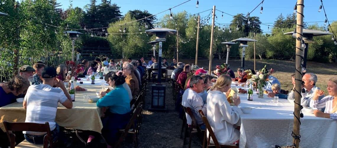 an outdoor event with people sitting around decorated tables in a garden